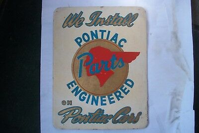 'Pontiac Parts' Vintage Embossed Easel-back Sign