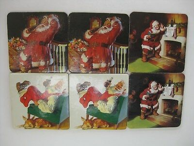 Set of 6 Coca Cola Santa Coasters from Speedway (2 each of 3 different Santas)