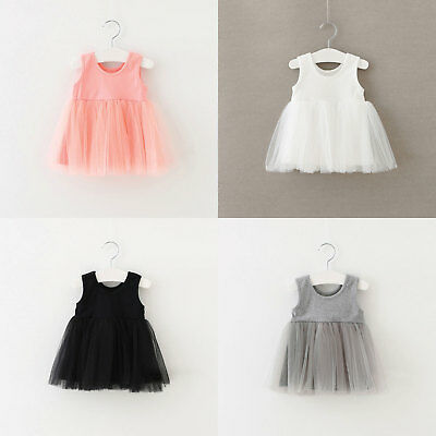 Kids Baby Girl Tulle Lace Sleeveless Party Dress Skirt White Pink Black Grey