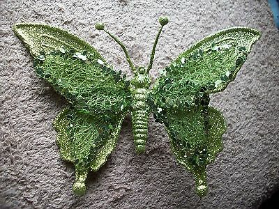 Clip On -  Christmas Ornament - Beautiful Green Clip On  Butterfly