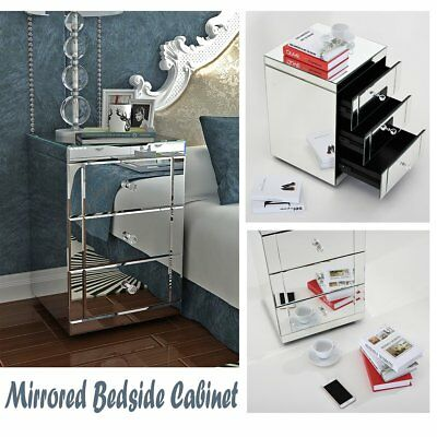 Mirrored Furniture Bedside Cabinet Table 3 Drawers Nightstand Lamp Side Cabinet