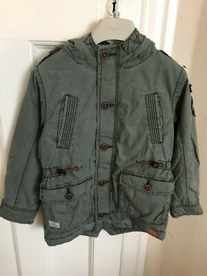 Boys green Next coat padded winter jacket for ages 4-5 years military style
