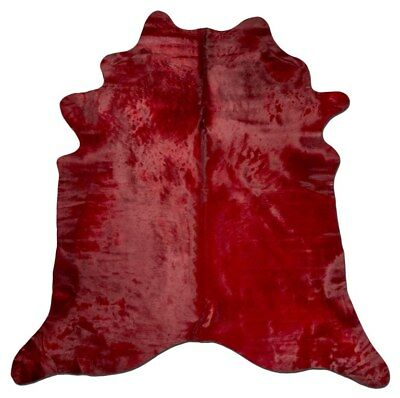 Alfombra Piel de Vaca Roja Red Printed Dyed Cowhide Pink Kuhfell Peau vache