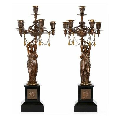 Fine French Neo-Grec Bronze & Slate Antique Candelabra by Charles Ferrat c. 1870
