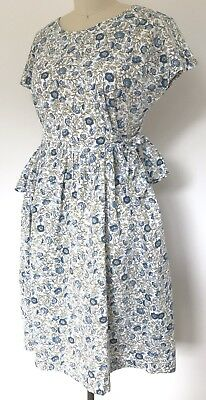 Vintage 1990s Blue Green White Side Waist Ties Button Back Cotton Dress 10-12