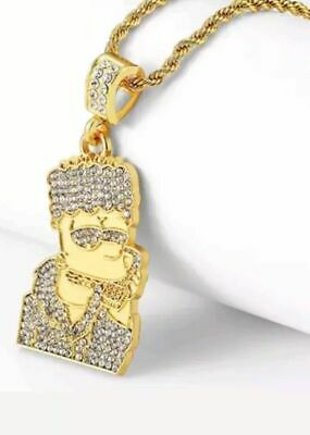 Mens Hip Hop Iced Out Bling Gold Plated Simpson  Men Pendant Necklace