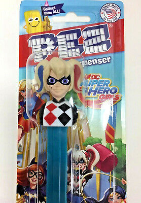 PEZ Dispenser DC Super Hero Girls HARLEY QUINN Candy Strawberry Cherry AS IS