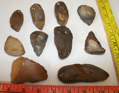 Lot of 10 Egyptian Faiyum Predynastic Flint Flaked Hand Stone Tools 7400-6400 BC