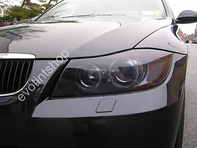 06-10 E90 4Dr Smoke Headlight Tint Cover Black Out Film