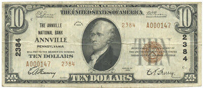 1929 $10 Banknote The Annville National Bank of Annville, Pennsylvania Ch #2384