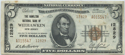 1929 $5 Banknote The Hamilton National Bank of Weehawken, New Jersey Ch #12829