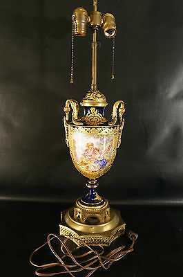 Antique Sevres French Porcelain Urn Table Lamp Cobalt and Gold Artist Signed
