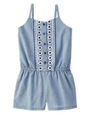 NWT Gymboree Girls Blue Safari Chambray Blue Embroidered Romper Size 5 6 & 7