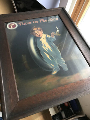 Wonderful vintage Fisk Tire advertising piece advertisement Time to Re-Tire boy