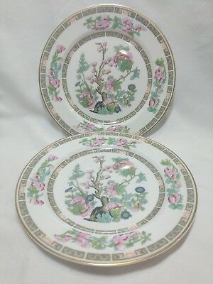 """2 Salad Plates Indian Tree Pink, Blue Flowers 8"""" O.P. Co. Syracuse China Gold"""