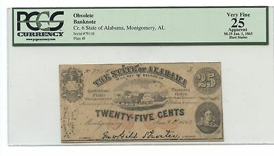 1863 State of Alabama 25 Cents Civil War Currency Note Paper Bill - PCGS VF 25