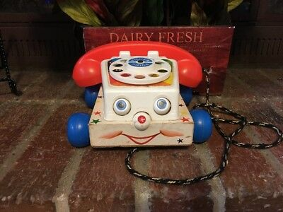 CUTE! VTG. 1961's CHATTER ROTARY TELEPHONE  WOODEN PULL TOY WORKS!!