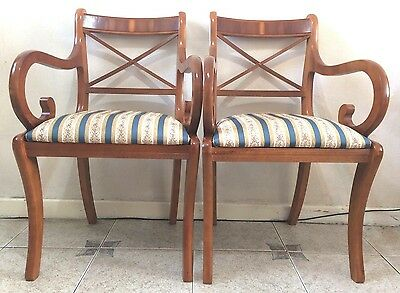 Reproduction Regency Cross Stick Carver Chairs With Scroll Arms x 2