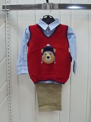 Infant Boys TFW Size 12Mth 18Mth /& 24Mth $44 Black Sweater Vest 3PC Set