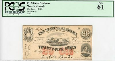 1863 State of Alabama 25 Cents Civil War Currency Note Paper Bill - PCGS New 61