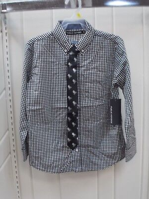 Boys Public Notice Size 8 10 12 14 16 & 18 $30 Black & White Dress Shirt W/T Tie