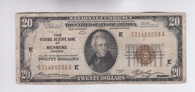 1929 $20 Twenty Dollar Bill National Currency Brown Seal Note - Richmond, VA