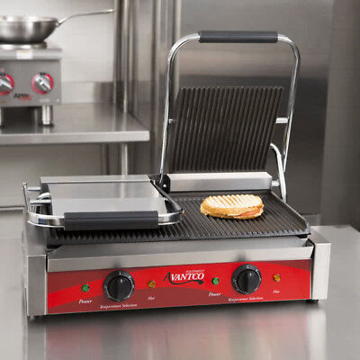 "Avantco P84 Double Grooved Panini Sandwich Grill 18 3"" x 9 1/16"" Cooking Surface"