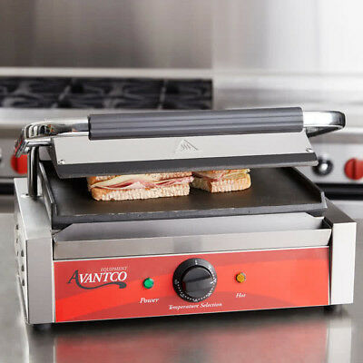 "Avantco PS70S Smooth  Panini Sandwich Grill 13"" x 8 3/4"" Cooking Surface"