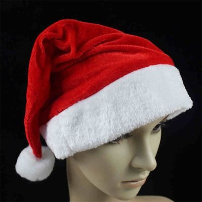 NEW 2017 Adult Unisex Soft Plush Ultra Thick Santa Claus Christmas Cap Hat red