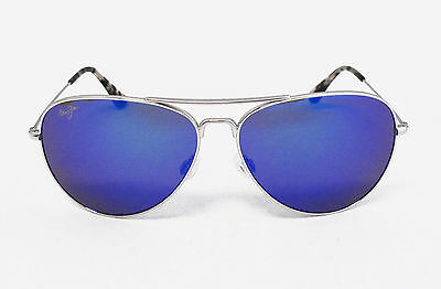 NEW B264-17 Maui Jim MAVERICKS Silver Titanium Frame Polarized Blue Hawaii Lens!