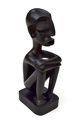 """Hand-carved Dark Wood Male Arms Folded Ifugao Sculpture Statue Philippines 9.75"""""""