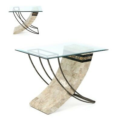 Contemporary Modern Pair of Marble and Iron Designer End Side Tables