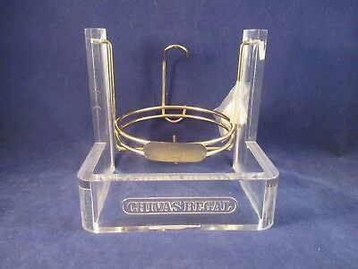 Vintage Chivas Regal 1.75L Bottle Cradle Stand Pourer Lucite Brass Engrave-able
