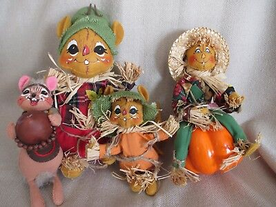 """Annalee  -Fall, Thanksgiving, Autumn Doll Lot Of 4, 7""""-11"""", Scarecrow Mouse 2004"""