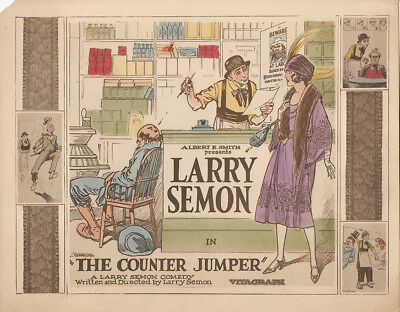 Larry Semon The Counter Jumper '22 Title Lobby Card Oliver Hardy