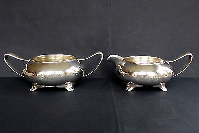 Art Nouveau Footed Creamer Pitcher Sugar Bowl Silver Plate Wilcox Monogram Vtg