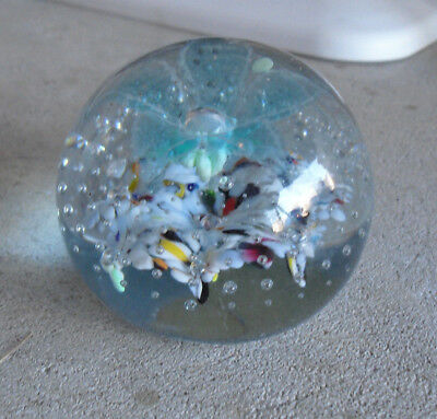 Vintage England Made Glass Paperweight Bubbles Flowers Look