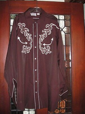Vintage H BAR C Men's Cowboy Shirt Rockabilly Western USA - XL