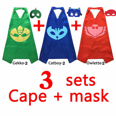 3 Sets Kids Superhero PJ Mask Cape Costume Cloak Halloween Party Cosplay Kit