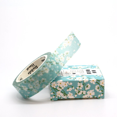 Washi Tape -  Spring Blue Floral Flowers 15mm x 7m Pretty Planner Decoration