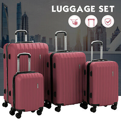 "4PCS Luggage Travel Set 16"" 20"" 24"" 28"" ABS Spinner Bag Suitcase w/ Lock Red"