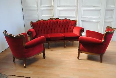 Wild Vintage Louis XV Rococo Baroque Style 3 Pc Suite 3-Seater Settee Armchairs