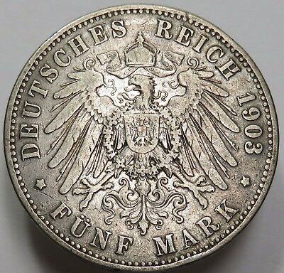 1903 Silver Deusches Reich 5 Mark Kingdom of Prussia Germany World Coin #15863
