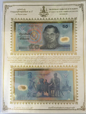 Thailand 50th Anniversary Accession Folder 2x 102a unc 1996 50 Baht (polymer)