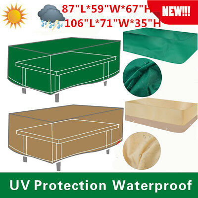 Deluxe Heavy Duty Waterproof Furniture Cover Rectangle Patio Table Chairs Green