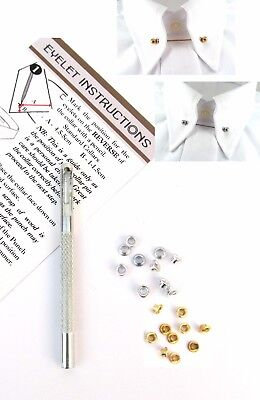 Gold & Silver Shirt Collar Pin Bar Convert Shirt DIY Kit 20 Eyelets & Punch
