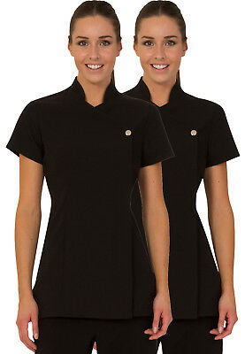 TWIN PACK - PRESS STUD Salon Tunic - Beauty Hairdressing Massage Spa Uniform