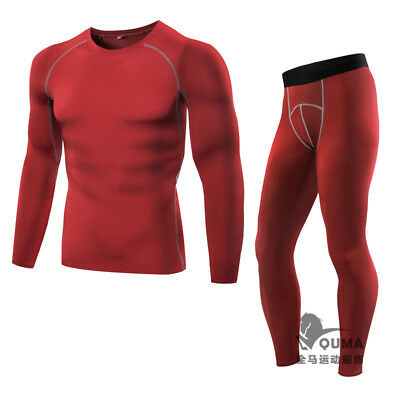 Mens Tight Under Base Layer Tight T-Shirt Pants Trousers Suit Quick Dry Fitness