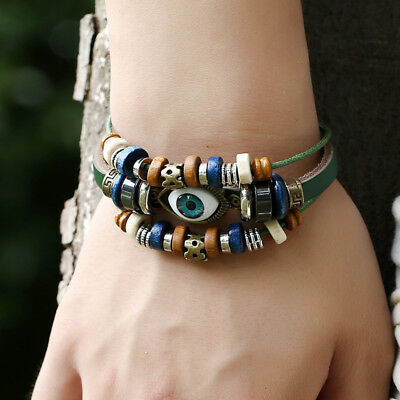 Men 925 Sterling Silver Plated Retro Eyes Beaded Adjustable Leather Bracelet