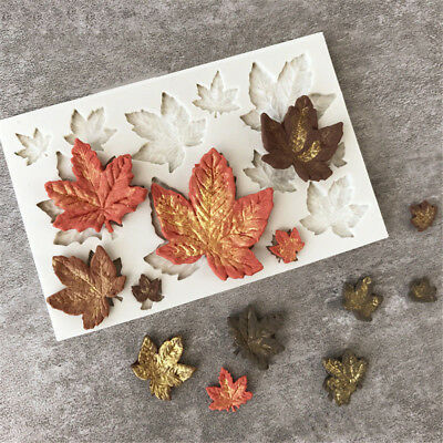 Cake Decor Silicone Fondant Mold Shaping Maple Leaves Mould Chocolate Sugarcraft